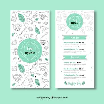 Modèle de menu de thé dessiné à la main