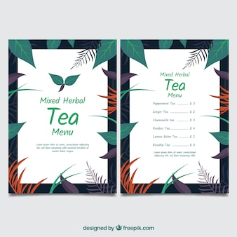 Modèle de menu de thé avec différentes boissons