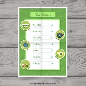 Modèle de menu de thé élégant avec un design plat