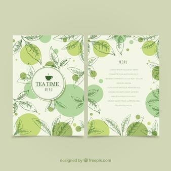 Modèle de menu de thé avec des feuilles