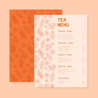 Modèle de menu de thé avec des fleurs