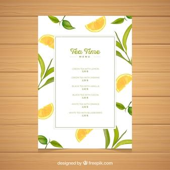 Modèle de menu de thé avec liste de boissons