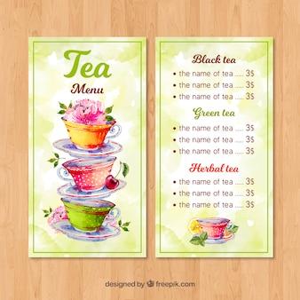 Modèle de menu de thé avec style aquarelle