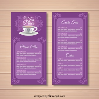 Modèle de menu de thé avec un style réaliste