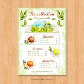 Modèle de menu de thé