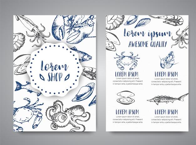 Modèle de menu vecteur de bannière de fruits de mer
