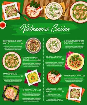 Modèle de menu vectoriel de cuisine vietnamienne salade d'agneau aux légumes, soupe de nouilles au boeuf pho bo et salade de crevettes aux épinards. ragoût d'aubergines, salades de crevettes et de mangue et soupe de champignons shiitake repas pho du vietnam