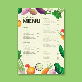 Modèle de menu végétarien aquarelle