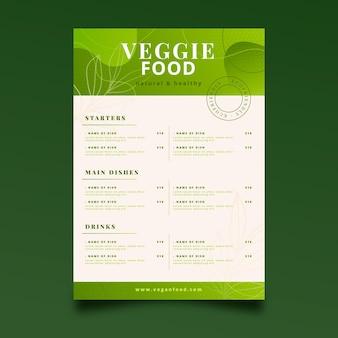 Modèle de menu végétarien dégradé