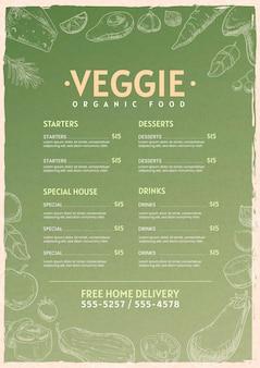 Modèle de menu végétarien vertical