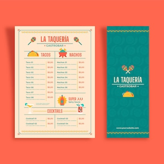 Modèle de menu vertical de cuisine mexicaine