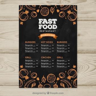 Modèle de menu vertical dans le style de tableau noir