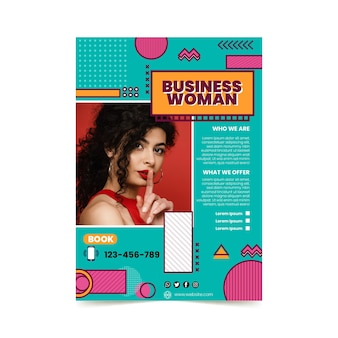 Modèle de menu vertical de femme d'affaires