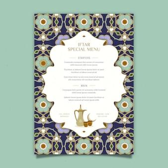 Modèle de menu vertical iftar dessiné à la main