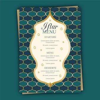 Modèle de menu vertical iftar plat