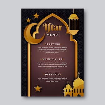 Modèle de menu vertical iftar en style papier