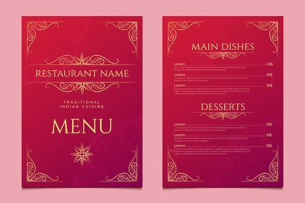 Modèle de menu vertical indien dégradé