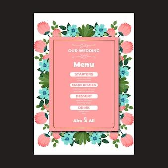 Modèle de menu vertical de mariage floral