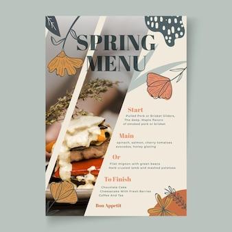 Modèle de menu vertical pour le printemps