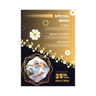 Modèle de menu vertical pour vingt-cinq ans d'anniversaire avec des fleurs