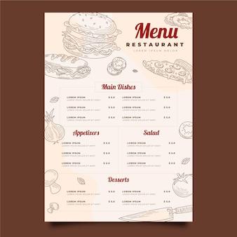Modèle de menu vertical de restaurant rustique dessiné à la main de gravure