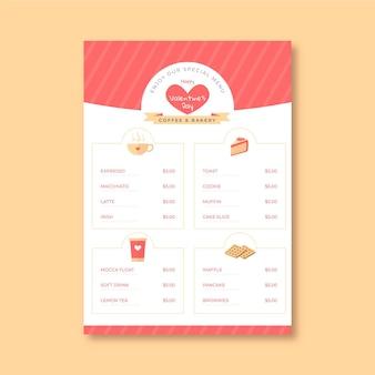 Modèle de menu vertical de la saint-valentin