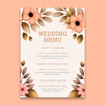 Modèle de menu vertical vingt-cinquième anniversaire de mariage