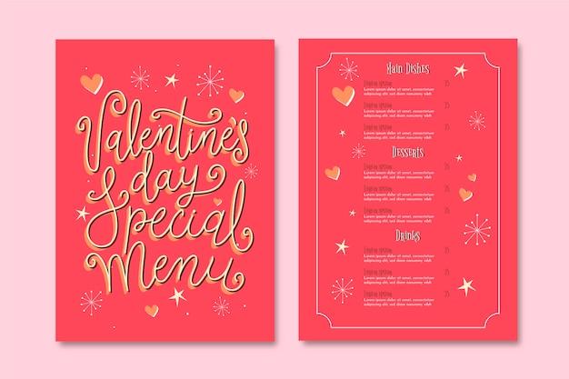 Modèle de menu vintage saint valentin