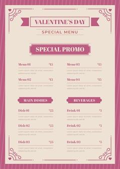 Modèle de menu vintage valentines day