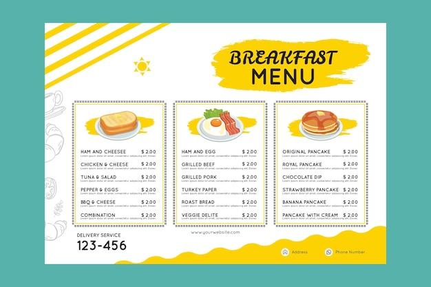 Modèle de menut de petit déjeuner