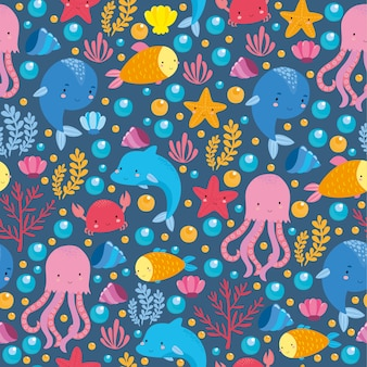 Modèle de mer avec des animaux mignons