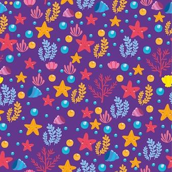 Modèle de la mer sur fond violet