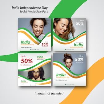 Modèle de message ou bannière inde pour instagram et les médias sociaux