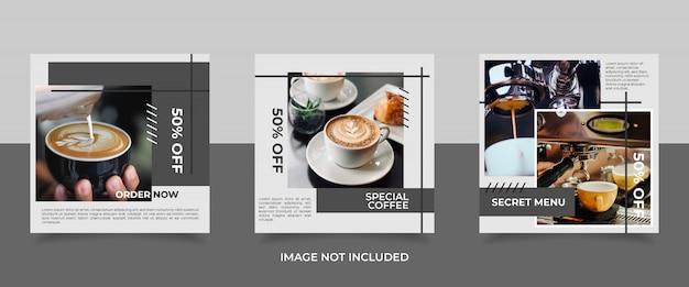 Modèle de message café instagram