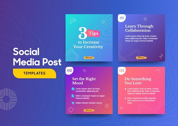 Modèle de message de médias sociaux avec un élément de conception de topographie cool et des couleurs dégradées à la mode