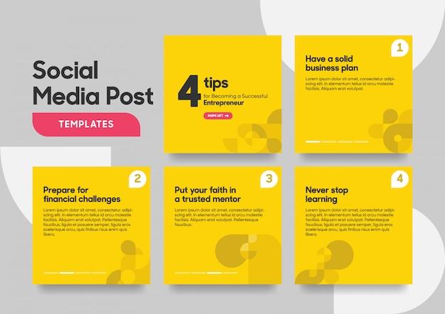 Modèle de message de médias sociaux avec une forme géométrique