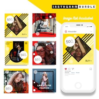 Modèle de message de mode instagram rouge jaune