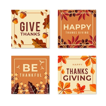 Modèle de messages instagram de thanksgiving day