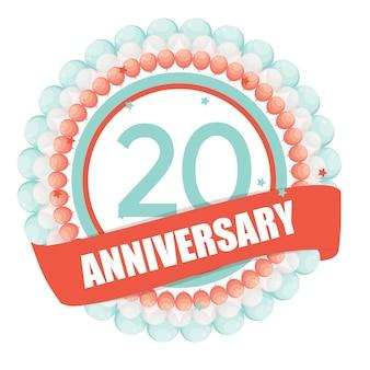 Modèle mignon 20 ans anniversaire avec des ballons et ruban vect