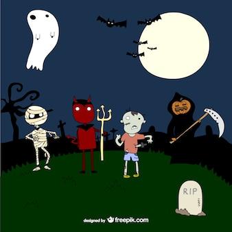 Modèle mignon de caractères de halloween dessinées à la main