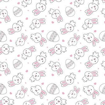 Modèle mignon avec lapin de pâques et oeuf