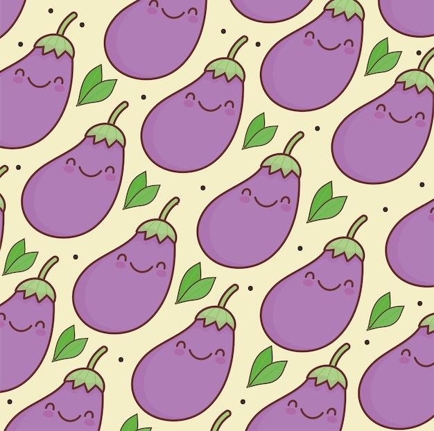 Modèle mignon de légumes aubergines kawaii