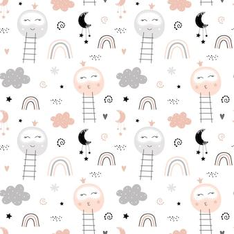 Modèle mignon avec lune et arc-en-ciel