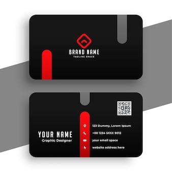 Modèle minimal de carte de visite abstraite rouge et noir
