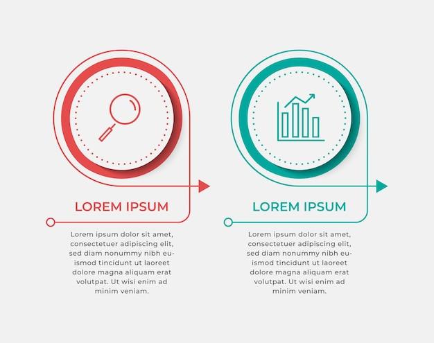 Modèle minimal d'infographie commerciale. chronologie avec 2 étapes, options.