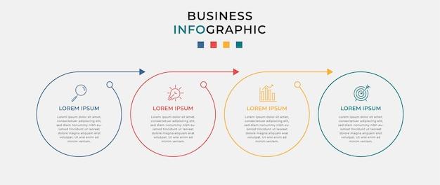Modèle minimal d'infographie commerciale. chronologie en 4 étapes.