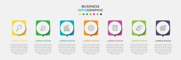 Modèle minimal d'infographie commerciale. chronologie avec 7 sept étapes, options et icônes marketing