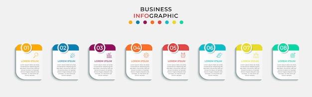 Modèle minimal d'infographie commerciale. chronologie avec 8 huit étapes, options et icônes marketing
