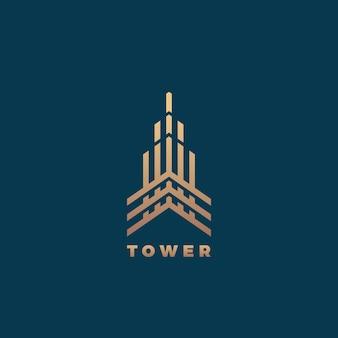 Modèle minimal de signe, de symbole ou de logo de géométrie abstraite de tour. concept de construction de style de ligne premium. emblème immobilier. fond sombre.