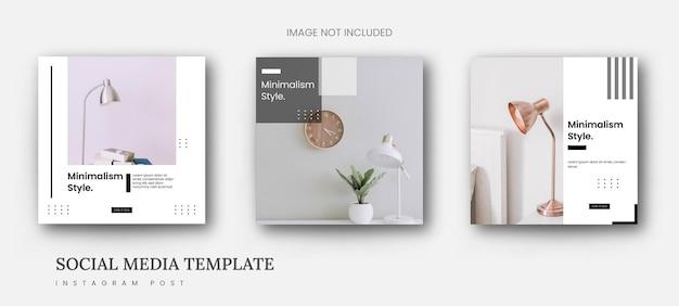 Modèle minimaliste de meubles de bannière de publication instagram